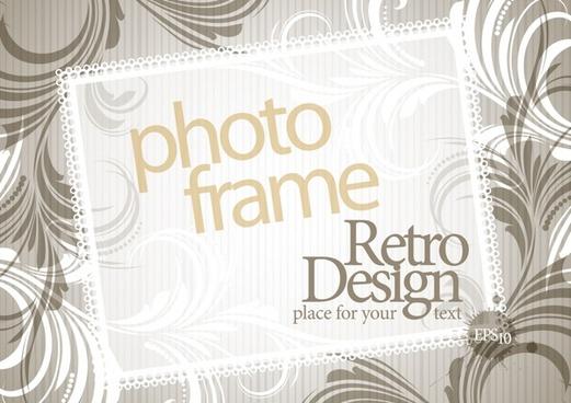 photo frame background template retro design floral decor