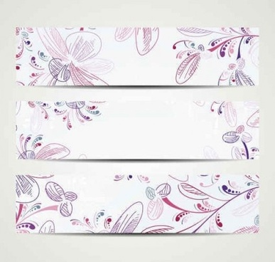 elegant vintage floral banners vector set