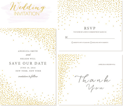 Elegant Wedding Invitations Creative Vector