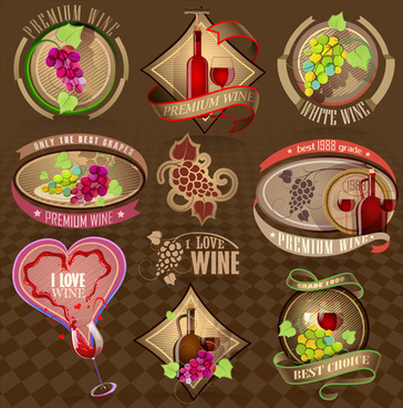 elegant wine labels vector