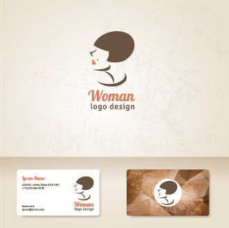 elegant woman logo with cards vector graphics