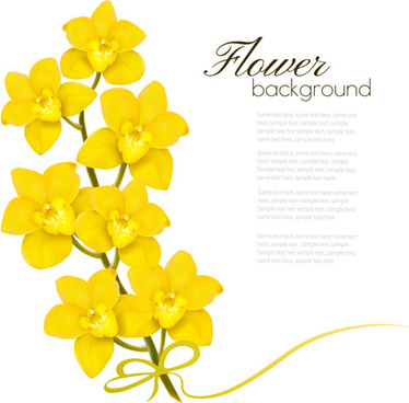 elegant yellow flowers art background vector