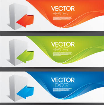 elemenets of colored banner design vector