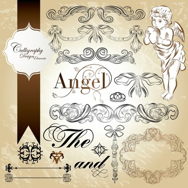 wedding card decor elements elegant classic european shapes