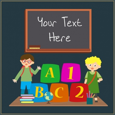 elementary education background blackboard kids studying tools icons