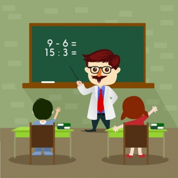 elementary education theme classroom teacher pupil icons