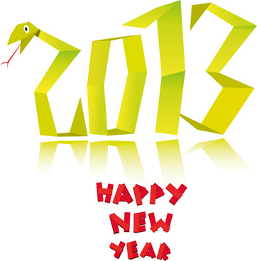 elements of13 snake year design vector