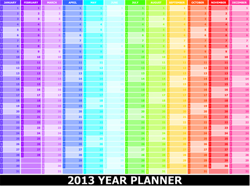 elements of13 year planner calendars design vector