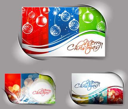 elements of abstract christmas cards design vector