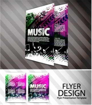 elements of abstract flyer music vector set
