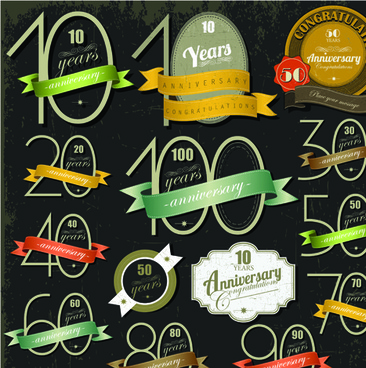 elements of anniversary numbers labels vector