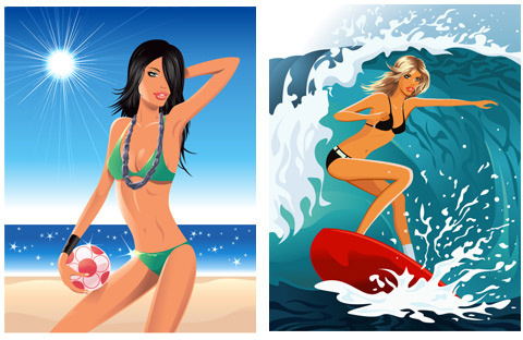 elements of beach is beautiful girl vector