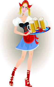 elements of beautiful german girl vector