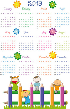 elements of calendar grid13 design vector set