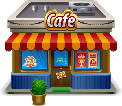 elements of cartoon cafe vector set