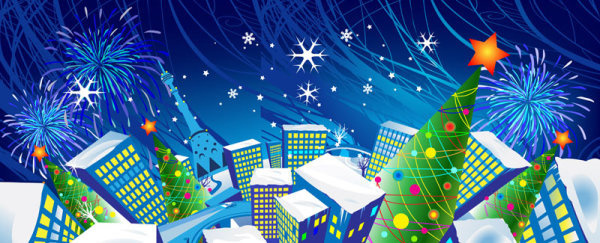 elements of cartoon christmas vector banner design
