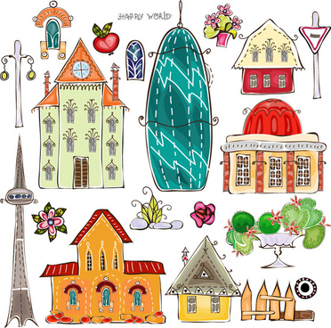 elements of cartoon city building vector