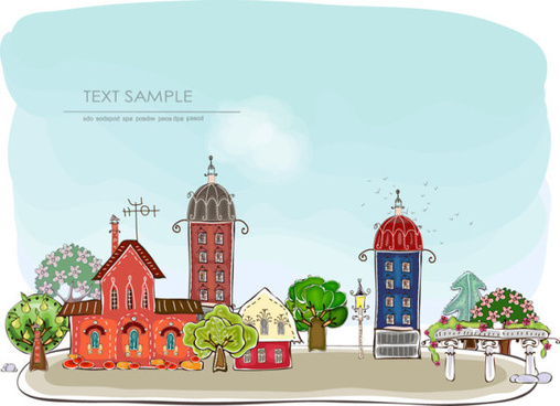 elements of cartoon city building vector