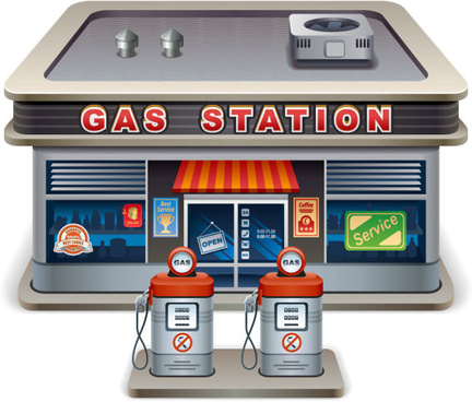 elements of cartoon gas station vector