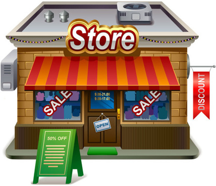 elements of cartoon store vector