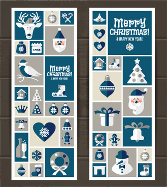 elements of christmas baubles banners vector