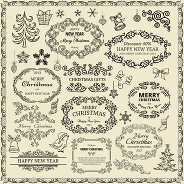 elements of christmas vintage frames and ornaments vector