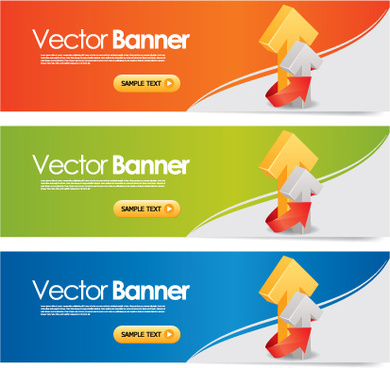 elements of colored banner design vector