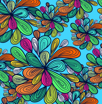 elements of colorful floral seamless pattern design vector