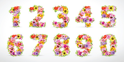elements of colorful flower numbers and alphabet vector