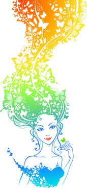 elements of colorful hair girl vector