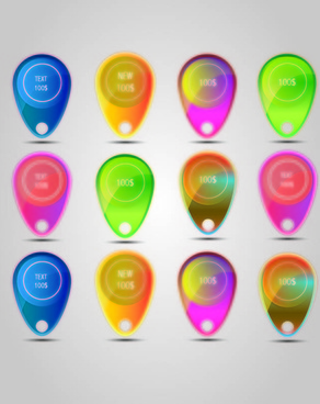 elements of colorful sale offer bubbles vector free vector