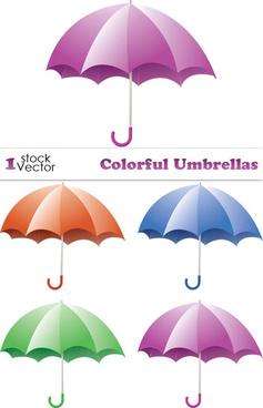 elements of colorful umbrellas vector