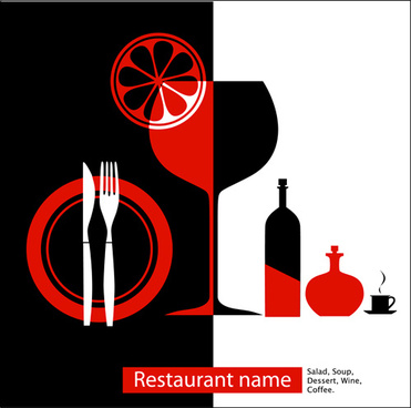 elements of commonly restaurant menu cover vector