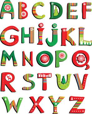 elements of creative xmas alphabet vector set