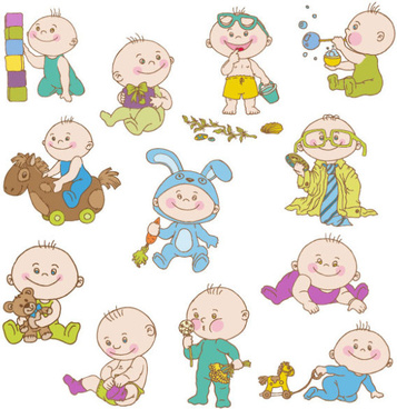 elements of cute cartoon baby vector set