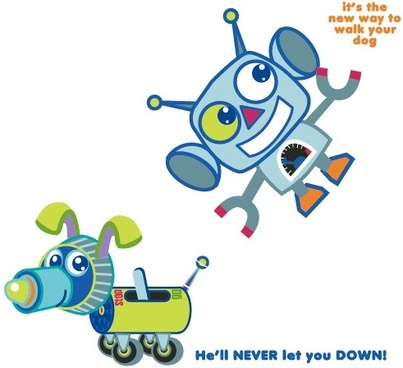 elements of cute cartoon robot vector