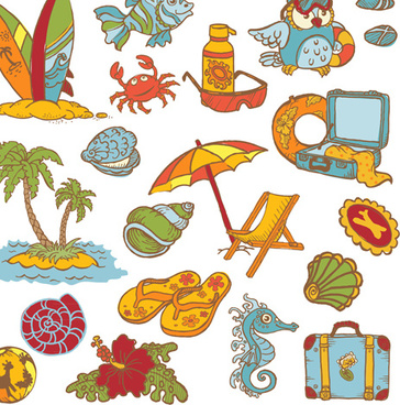 elements of doodle sea vector icons