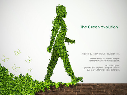 elements of ecology green template vector set