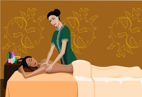 elements of female massage vector