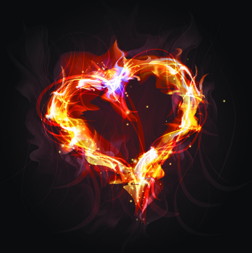 elements of fiery objects vector