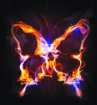 elements of fiery objects vector