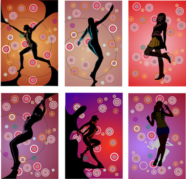 elements of fitness of female characters vector