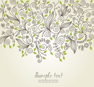 elements of floral decoration background vector