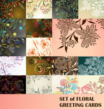 elements of floral greeting cards vector set