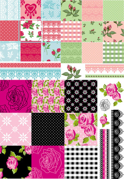elements of flower pattern background art vector