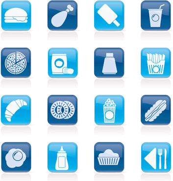 elements of food icons set