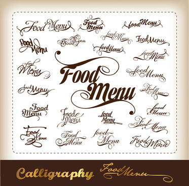 elements of food menu cover design vector