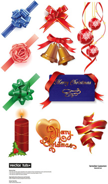 elements of gift decoration vector