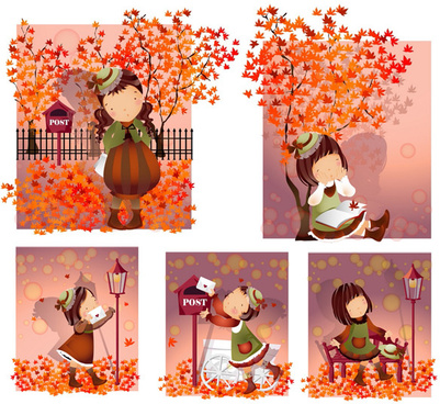 elements of girl autumn leaves vector