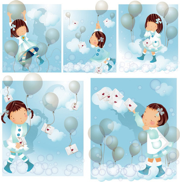 elements of girl blue balloon master vector